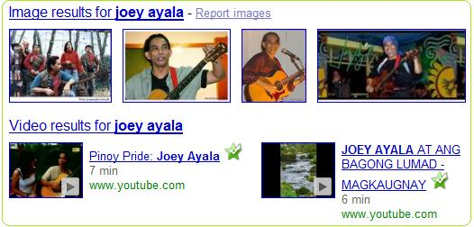 Google search results on Joey Ayala