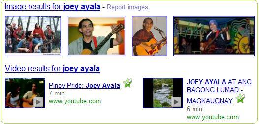 Google search results on Joey Ayala