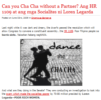 "In the spirit of ""Democratic"" Philippines FOOL-liticians in cohorts with their ""STRATEGISTS"" has created a paradigm that they can now DANCE CHA-CHA-CHA alone."