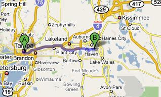 Tampa to Cypress 52 miles (84.4 Kilometers)