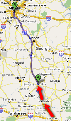 Tifton to Atlanta: 180 miles (290 Kilometers)