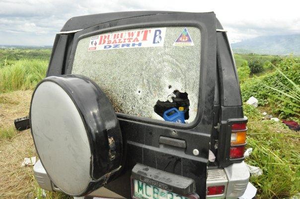 Vehicle riddled with 50 caliber machine guns